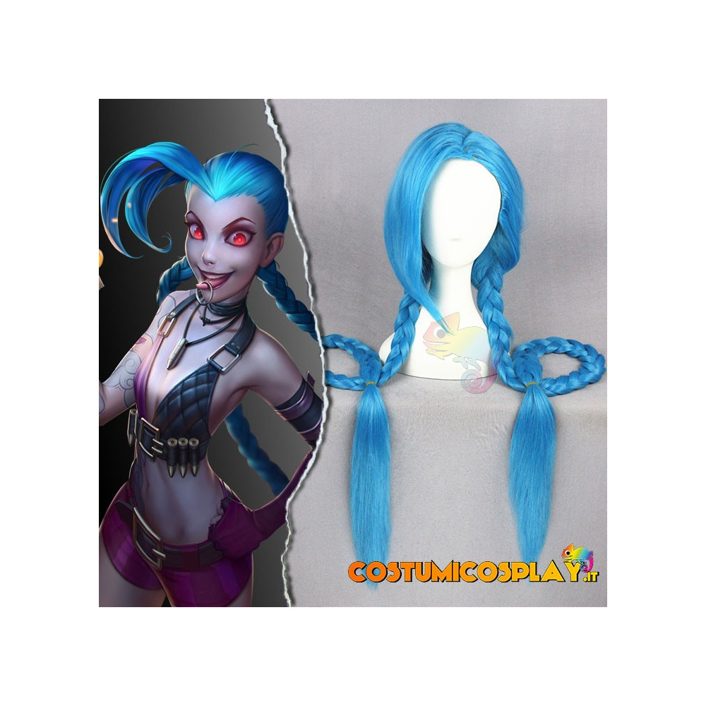 Parrucca Cosplay Jinx League of Legends