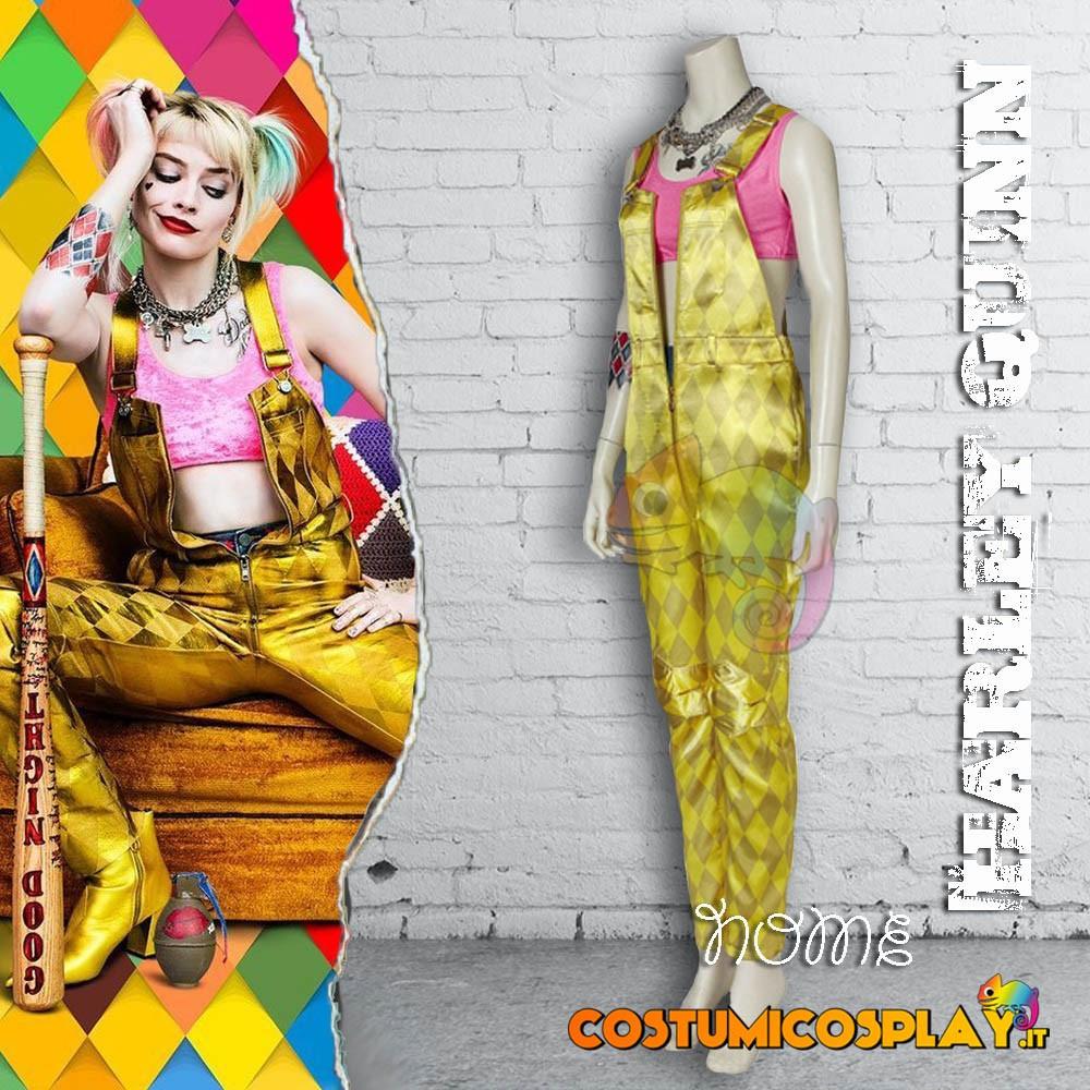 Costume Cosplay Harley Quinn Birds of Prey con salopette gialla