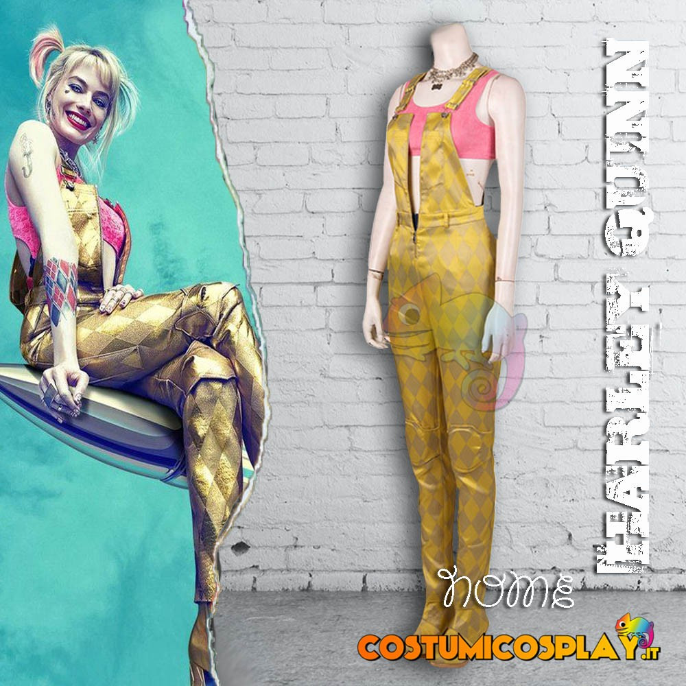 Costume Cosplay Harley Quinn Birds of Prey con salopette gialla e sottoveste