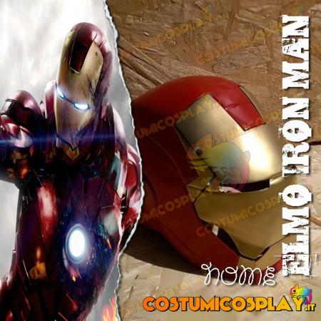 Elmo cosplay Iron Man realizzato a mano in acciaio