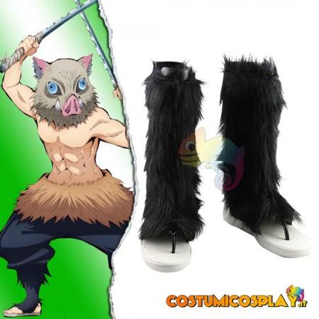Stivali cosplay con pelo Hashibira Inosuke da Demon Slayer