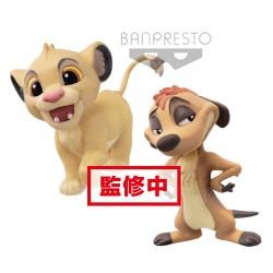 Action Figure Simba e Timon Re Leone Disney Fluffy Q Posket 7 cm